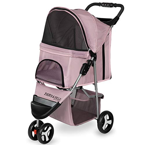 Paws & Pals Dog Stroller - Pet Strollers for Small Medium Dogs & Cats - 3 Wheeler Elite Jogger