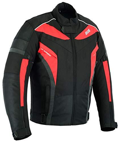 Motorradjacke, Herren textile Jacke, Wasserdicht Winddicht Mit Protektoren Multifunktional, Rot (M)
