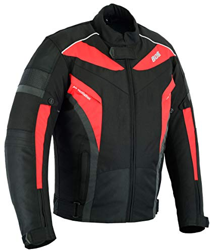 Motorradjacke, Herren textile Jacke, Wasserdicht Winddicht Mit Protektoren Multifunktional, Rot (4XL)