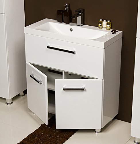 Quentis Badmöbel Tango, bodenstehend, Breite 80 cm, weiß, Waschbecken und Unterschrank, Waschbeckenunterschrank montiert