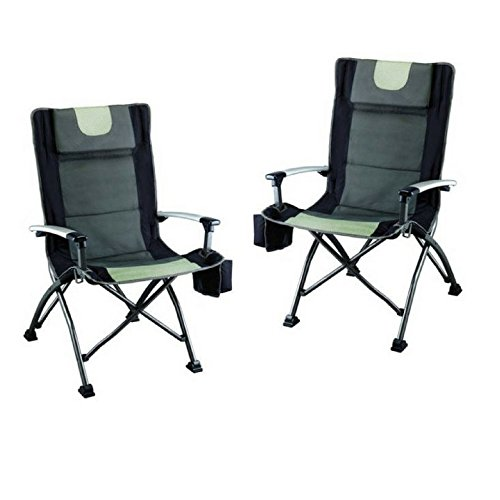 Ozark Trail High Back Chair, Ultra Durable Steel Frame (Black - Pack of 2)