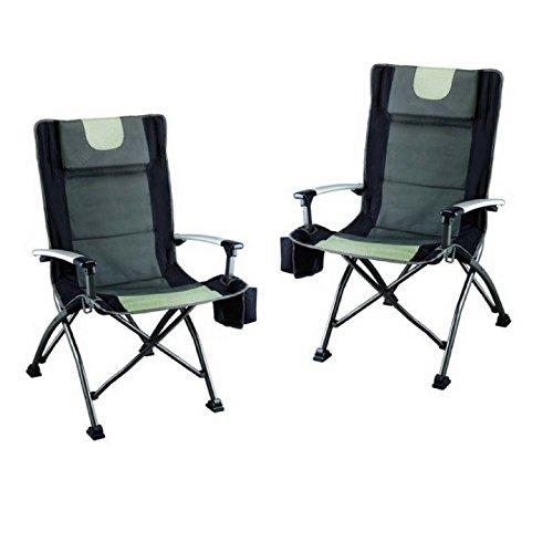 Ozark Trail High Back Chair, Ultra Durable Steel Frame (Black - Pack of 2)