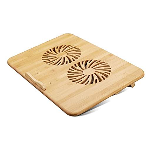 Pkfinrd Soporte de enfriamiento del Soporte para computadora portátil Soporte de enfriamiento portátil con Ventiladores y Estructura de bambú, para computadoras portátiles Entre Extra USB Puerto 2
