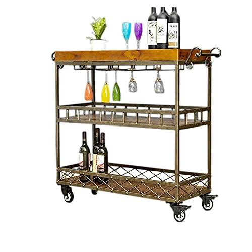 XXCHUIJU Storage Rack 3 Tiers Iron Art Rolling Cart,Storage Trolleys,Dining Car,60 * 30 * 75Cm (Size : 60 * 30 * 75Cm)