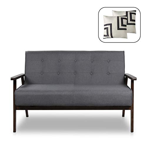 "Mid-Century Modern Solid Loveseat Sofa Upholstered Fabric Couch 2-Seat Wood Armchair Living Room/Outdoor Lounge Chair,50""W (Fabric)"