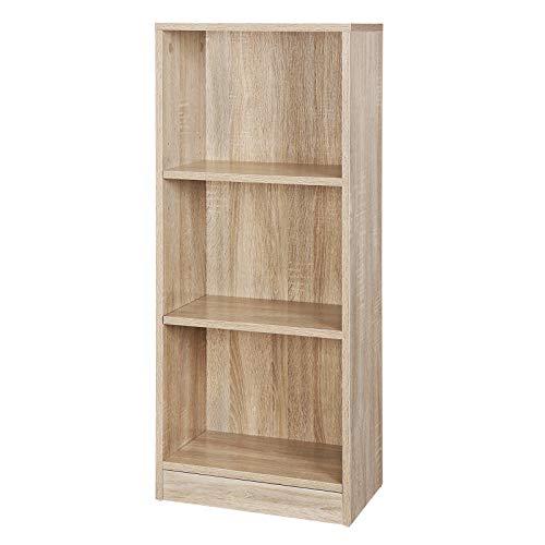VASAGLE Bücherregal mit 3 Fächern, Verstellbare Einlegeböden, Aktenregal für Wohnzimmer, Kinderzimmer und Heimbüro, Farbton Eiche, 40 x 93 x 24 cm (B x H x T) LBC103H