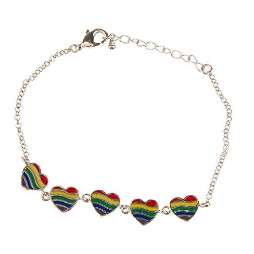DYNWAVE Moda Transgênero LGBT Homossexual Homossexual Coração -íris Pulseira com Corrente - Prata