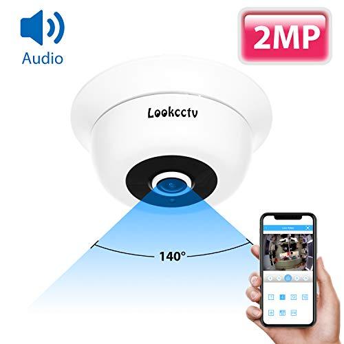 lookcctv Sicherheit POE Kamera 1080P Audio Fisheye IP Kamera H.265 CCTV Kamera 1/2.7 Sensor Weitwinkel Fisheye Objektiv IR Nachtsicht ONVIF P2P für Home Video Surveillance System