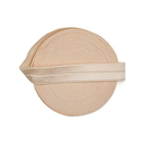 DIY PARK 5 Yard 5/8' Soild Color Fold Over Elastic Spandex Satin Band Lace Baby Headband Sewing Trim(Nude)
