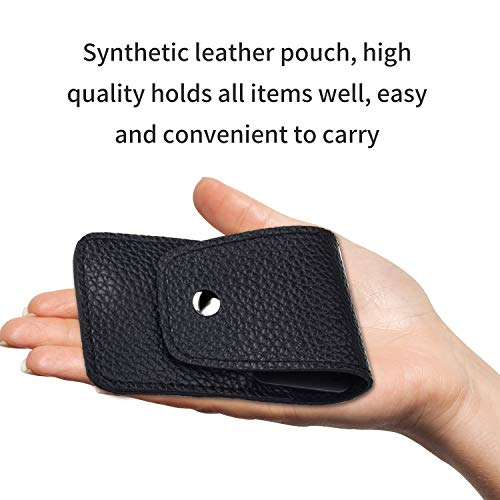 FIXBODY Nail Clipper Set - Black Stainless Steel Fingernails & Toenails Clippers & Nail File Sharp Nail Cutter with Leather Case, Set of 3 (Straight & Curved)