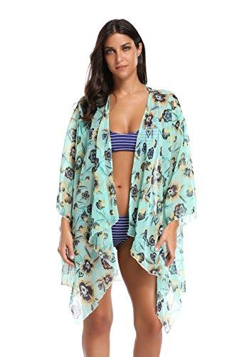 Floating Time Women's Floral Chiffon Kimono Cardigan Summer Beachwear Swimsuit Cover up