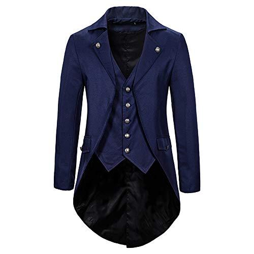 Z&Y Glass Herren Steampunk Vintage Gothic Jacke warme Frack Herrenjacke Knöpfe Langer Mantel Cosplay Kostüm Graben Bomberjacke Cape mit Weste Frack Mantel Gothic Jacke Vintage Smoking Jacke