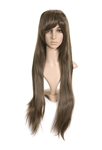 Golden Brown With Bangs Long Length Anime Cosplay Costume Wig