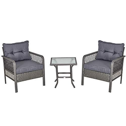 Outsunny Conjunto de Muebles de Ratán 3 Piezas de Jardín 2 Sillones 65x66x75 cm y 1 Mesa 50x50x50 cm de Vidrio Templado con Cojines Acolchados para Terraza Patio Gris