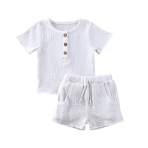 Baby Boys Girls Cotton Linen Shorts Set Toddler T-Shirt Tops with Elastic Pants Solid Clothes Outfit (White, 12-18 Months)