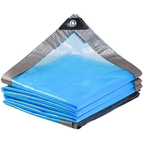 Lona Alquitranada Cubierta Transparente de Lona Impermeable PE, Hoja de Lona a Prueba de Polvo a Prueba de Lluvia Azul con Ojales, para El Barco de La Tienda del Balcón del Toldo del Jardín