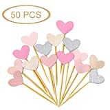 Glitter Heart Cupcake Toppers,50 PCS Love Valentine's Day Food Picks Cake Decorations for Wedding Bridal Birthday Party Baby Shower