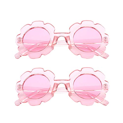 PRETYZOOM 2pcs Kids Flower Sunglasses UV Light Protection Glasses Sunscreen Eyewears Party Dress Up Glasses for Children Pink