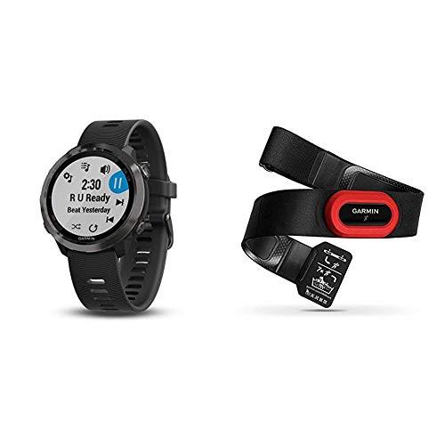 Garmin Forerunner 645 Music Slate, Schwarz, TU EU, 010-01863-32 & Premium Herzfrequenz-Brustgurt HRM-Run - mit eingebautem Beschleunigungssensor zur Laufeffizienzanalyse