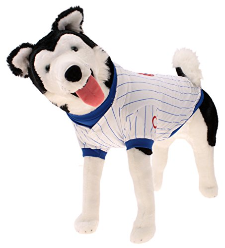 Sporty K9 MLB Baseball Striped Dog Jersey, Chicago Cubs Large