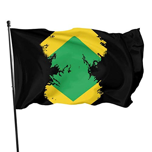 GOSMAO Bandera de Jardín Doble Costura Resistentes a la Decoloración UV Banner de Bandera Decorativo Exterior Fiesta Mardi Gras para Patio Césped Pintura de la Bandera de Jamaica 150X90cm