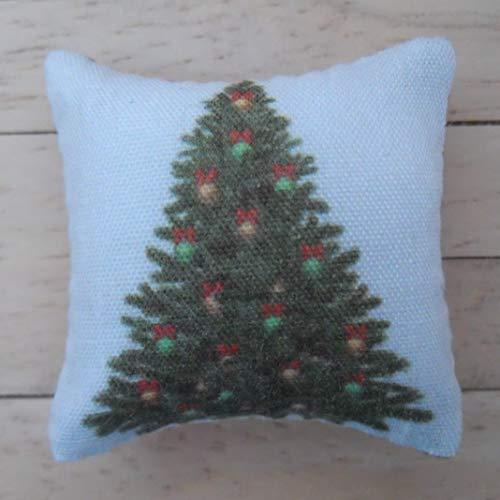 1/12. Skala Puppen Haus Weihnachten Kissen: Weihnachtsbaum-Design in grün, rot und Gold
