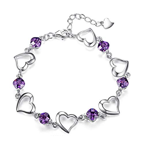 Pulseras Brazalete Pulsera De Cristal Púrpura De Color Plateado A La Moda para Mujer, Joyería, Pulseras De Eslabones En Forma De Corazón