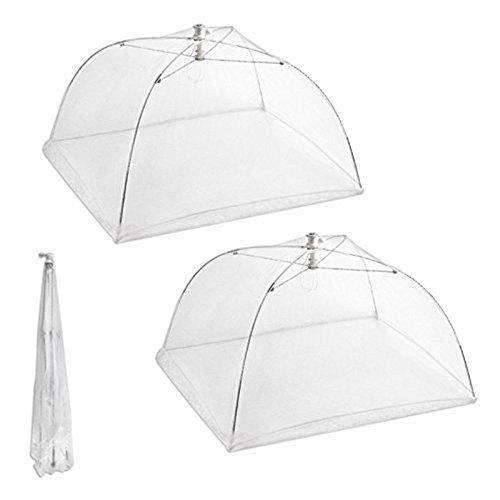 Jancery Lot de 2 grands parapluies en maille pour nourriture, réutilisables et pliables 40,6 cm pour pique-nique/barbecue – Protège contre les mouches, les insectes, les moustiques – Blanc