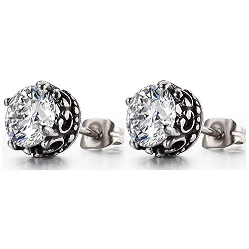Retro Vintage Celtic Knot Stainless Steel Fire Crystal Stud Earrings (Clear)
