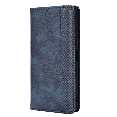 GOKEN Leder Folio Hülle für Motorola Edge 20 Lite, Lederhülle Brieftasche Mit Kartensteckplätzen, Premium Flip PU/TPU Handyhülle Schutzhülle Hülle Cover mit Ständer Funktion (Blau)