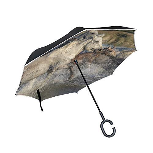 Best Buy! PNGLLD Horses Herd Animals River Running Nature Mane Inverted Umbrella Double Layer Revers...
