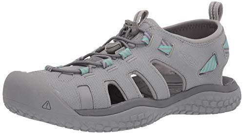 KEEN Women's SOLR High Performance Sport Closed Toe Water Sandal Shoe, Light Grey/Ocean Wave, 5.5