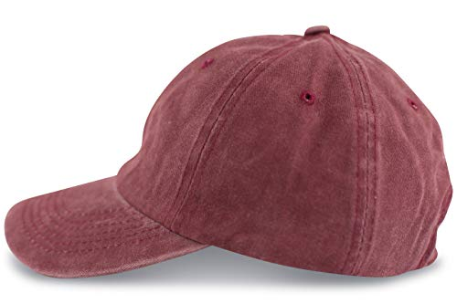 fashionchimp ® Baseballcap im Vintage Used-Look aus 100% Baumwolle, Unisex Jeans Denim Cap (Dunkelrot)