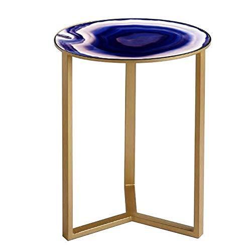 XIA Nordique Moderne Simplicité Creative Iron Art Table De Coin En Verre Petite Table Basse Salon Chambre À Coucher Table Ronde Petite Table D'appoint