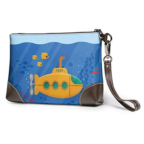XCNGG Gelbes U-Boot Periskop Fisch Koralle Seetang Ozean bedruckte Clutch Geldbörse Abnehmbare Leder Wristlet Brieftasche Frau Handtasche
