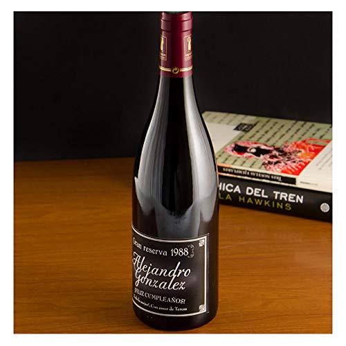 Regalo Personalizado: Botella de Vino con Etiqueta Gran Reserva Negra Personalizada, en Caja de Madera grabada