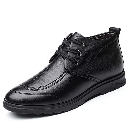 JIANGNANCHUN Men's Fashion Enkellaarsjes Casual Simple ronde neus Lacing Winter Faux fleece aan de binnenkant High Top Boot (Color : Brown, Size : 38 EU)