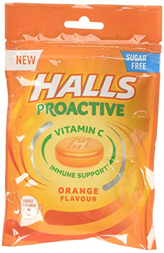 Halls Proactive Orange Sugar Free Vitamin C Sweets Bag, 520 g  (Pack of 8)
