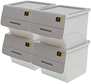 Citylife X-8181 35L Stackable Storage Box With Front Opening - Bundle of 4, 380x390x310mm, Icegrey