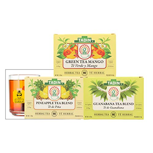 Tadin Herbal Tea - Pineapple Tea Blend, Guanabana Tea Blend, and Green Tea Mango Tea, 24 Bags each - Enjoy it Hot or Cold - Bundle (Set of 3) - Comes with a Premium Penguin Tea Card