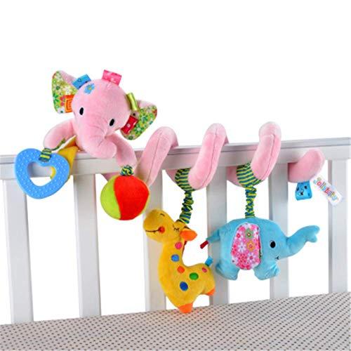 CULASIGN Activity-Spirale Tier/Stoff-Spirale zum Greifen und Fühlen für Bett, Kinderwagen Babyschale, Laufgitter anpassbar/Für Babys und Kleinkinder ab 0+ Monaten (4#)