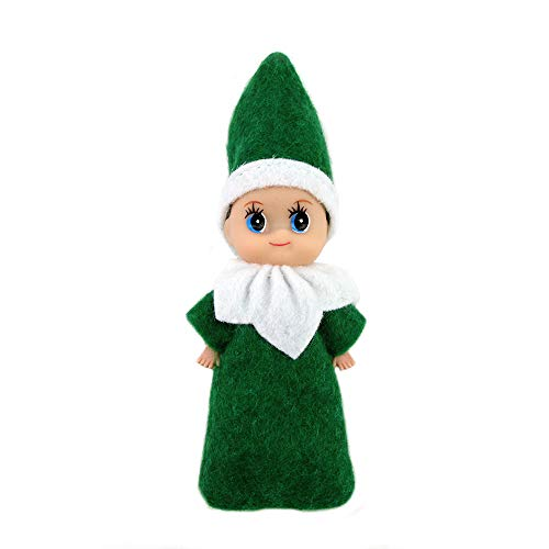 WULEEUPER Tiny Baby Elf Doll | Christmas Miniature Elf Doll | Baby Elves Dolls Toys | Xmas Decoration Gift (Green boy)
