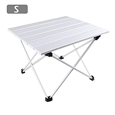 TRIWONDER Ultralight Aluminum Folding Camping Table Collapsible Portable Roll-Up for Outdoor, Camping, Picnic, BBQ, Beach, Fishing (Silver - S (15.55 x 13.78 ))