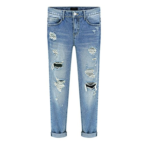 CHIYEEE Damen Röhrenjeans Skinny Fit Ripped Loch Jeans Aufgerissene Hose Blau 30