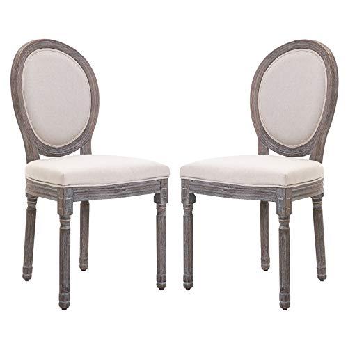 homcom Set 2 Sedie per Soggiorno o Sala da Pranzo Stile Classico rétro in Legno e Lino con Schienale Medaglione Bianco Avorio
