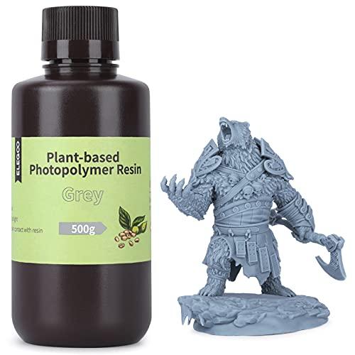 ELEGOO Fotopolímero Estándar de Base Vegetal para Impresoras 3D con Ultra Bajo Olor y Alta Precisión Resina UV de 405nm, Resina de Curado Rápido para la Impresión 3D en Resina - Gris 500g