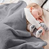 Baby Blanket - Fluffy Fleece Blanket for Baby - Soft, Warm & Cozy Receiving Blankets for Toddlers - for Cribs & Strollers (30x40,Grey )