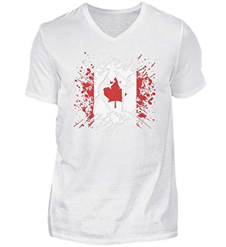 Camiseta de manga corta con cuello de pico para hombre, diseño de Canadá