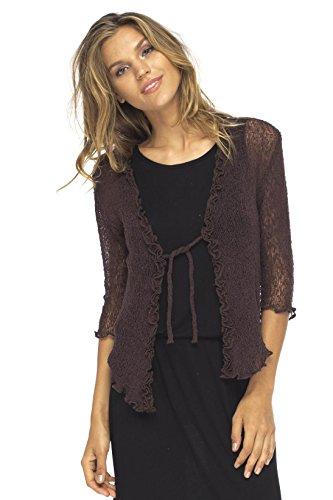Back From Bali Womens Sheer Shrug Cardigan Sweater Ruffle Lightweight Knit Brown One Size