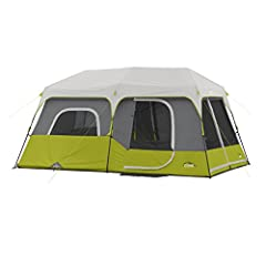 Instant 60 Second Setup; Sleeps 9 people; Fits two queen air mattresses; Center Height:78 CORE H20 Block Technology and adjustable ground vent Features room divider and wall storage pockets keep items neat and off the tent floor Electrical cord acces...